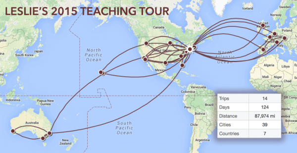 This map shows where I traveled in 2015